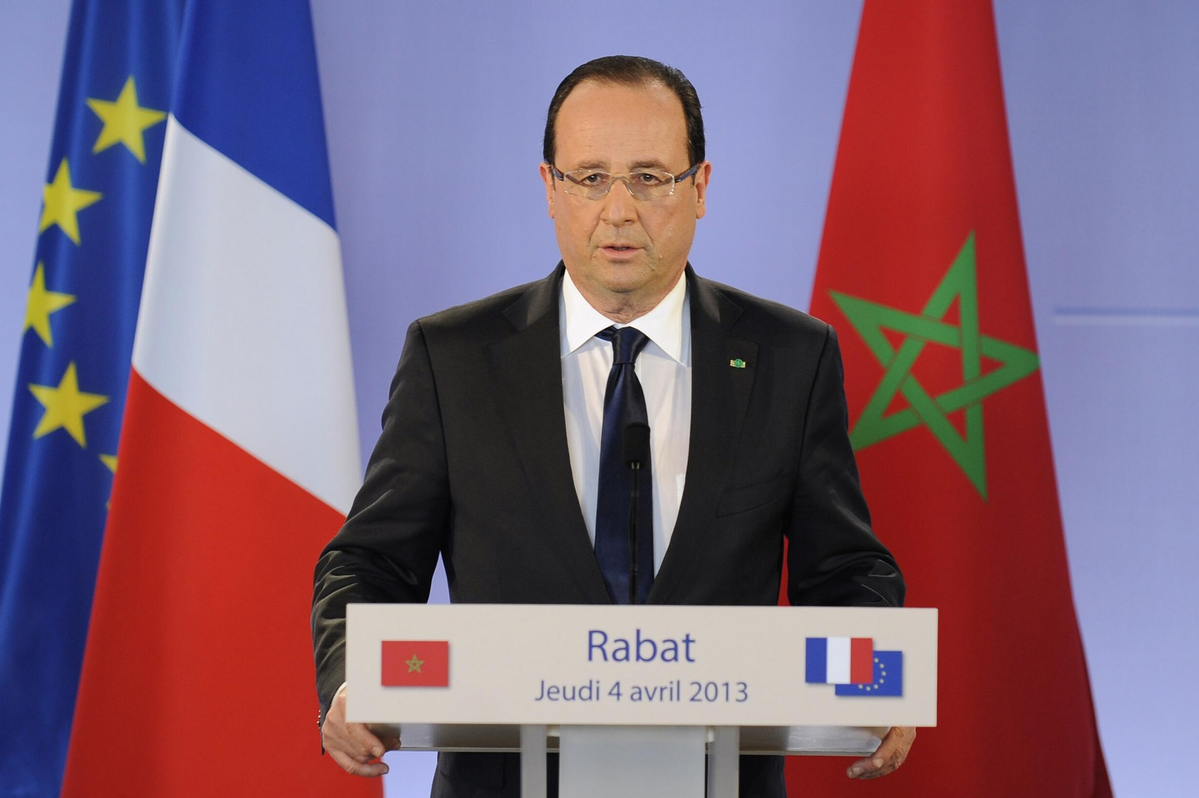 Франсуа Олланд во время пресс-конференции в Рабате, Марокко, 4 апреля