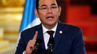 Jimmy Morales, presidente da Guatemala, no dia 6 de setembro de 2018
