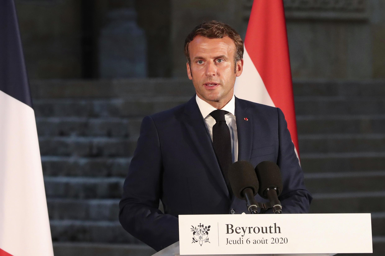 法国总统马克龙访黎巴嫩2020年8月6日资料图片