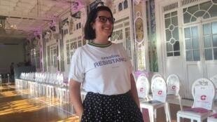 """A designer de moda Susana Bettencourt no """"Salon des Miroirs"""", em Paris. 26 de Junho de 2019."""