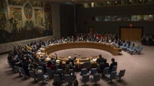 O Conselho de Segurança da ONU reunido em Nova York neste sábado, 15 de março de.
