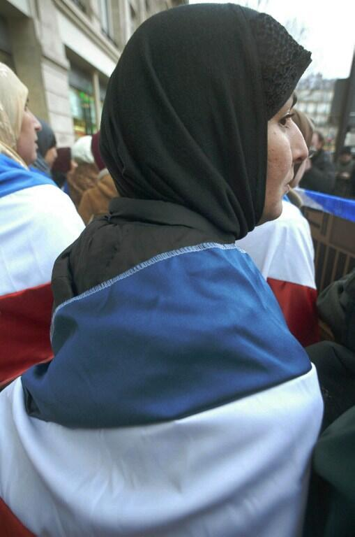 A woman wearing the Islamic veil in Paris.