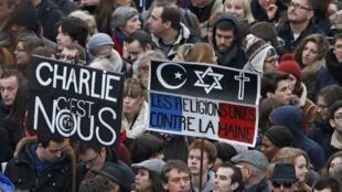 150万人1月11日在巴黎大街游行拒绝恐惧