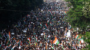 Manifestação em massa contra a emenda da lei de cidadania em Calcutá, em 16 de dezembro de 2019.