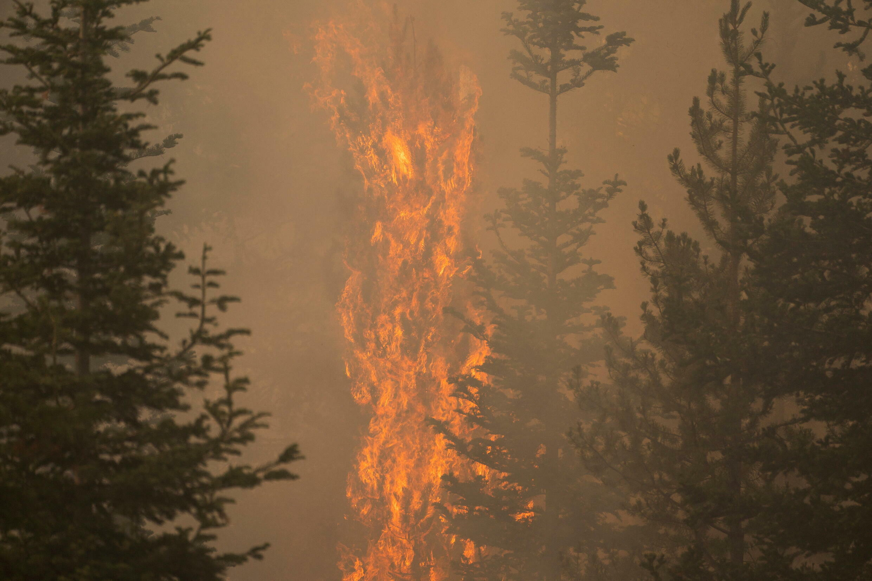 Des incendies géants se propagent dans l'ouest des États-Unis, ici dans les environs de Paisley (Oregon), le 20 juillet 2020.