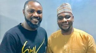 Tauraron dan wasan Hausa kuma mawaki Adam A Zango tare da Ahmed Abba na RFI