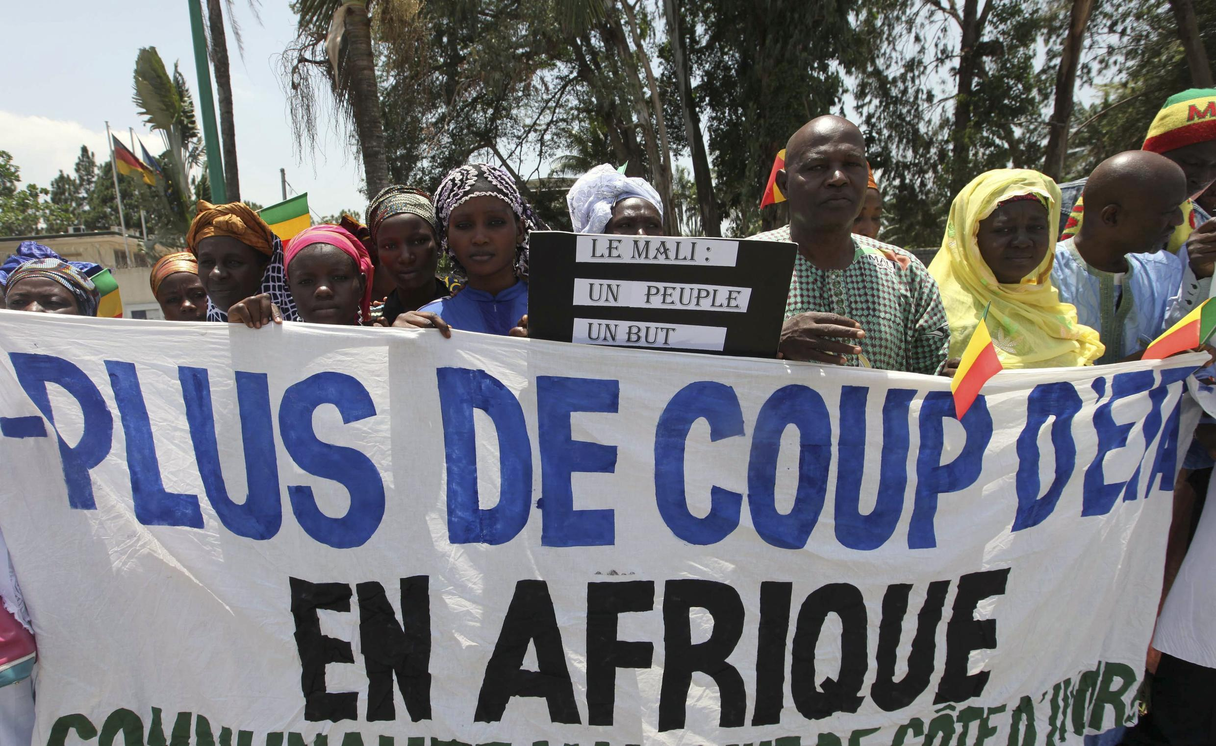 A demonstration in Abidjan against coup leaders during an ECOWAS summit on Mali and Guinea Bissau