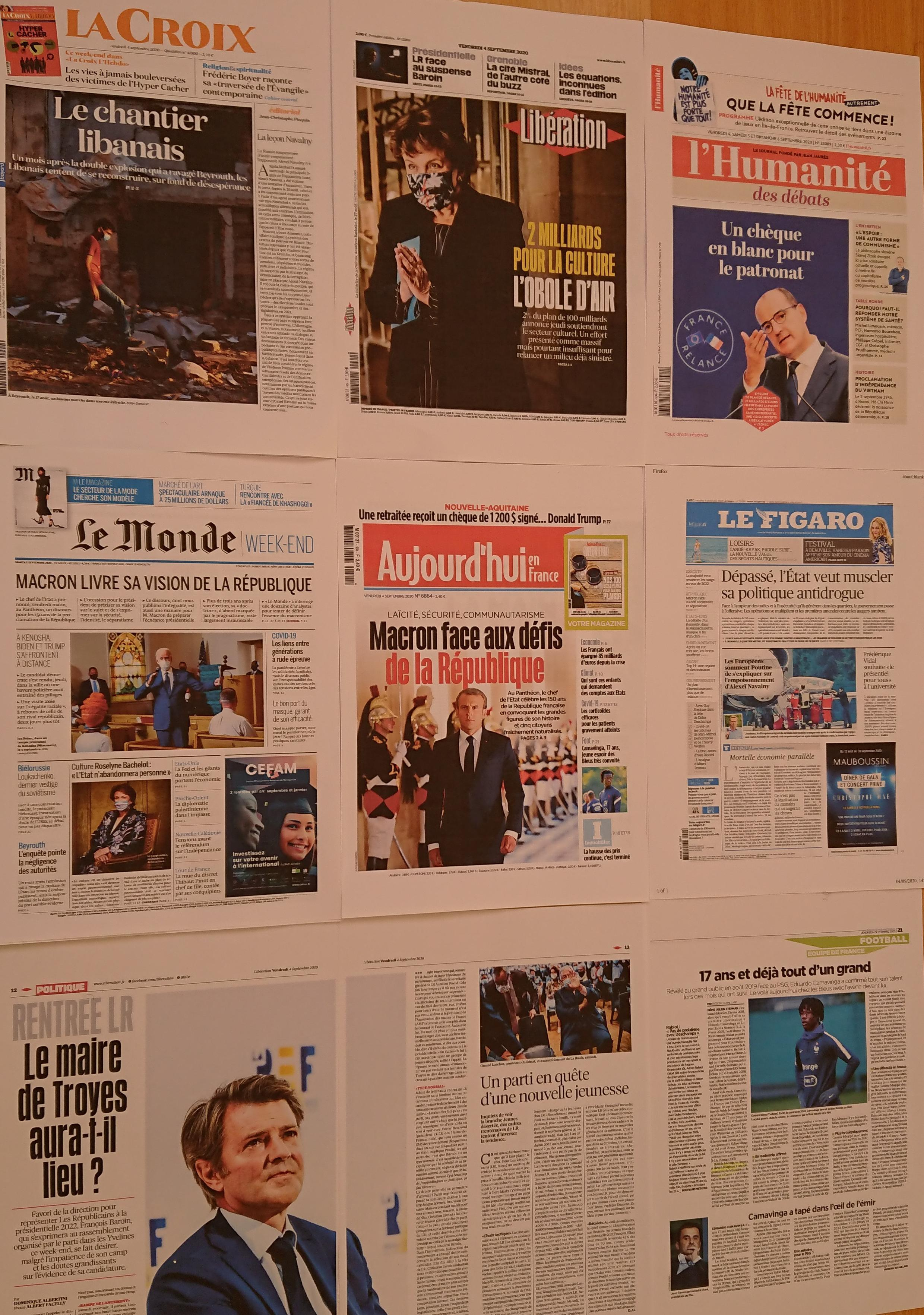 Páginas de  diários franceses 04 09 2020