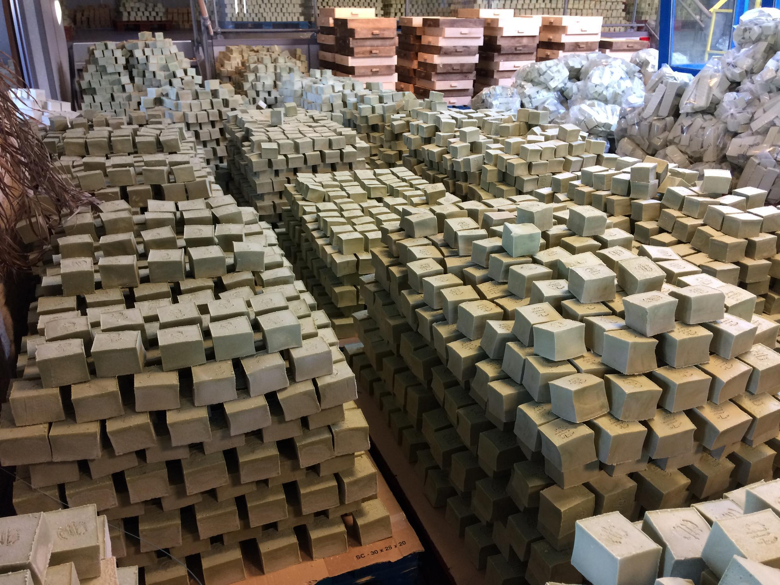 Pyramids of Aleppo soap drying in the French factory