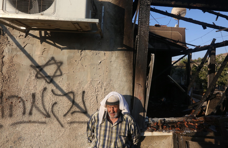 «Vingança», escrito em hebreu no muro da casa incendiada em Duma, no dia 31 de julho de 2015.