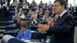 José Manuel Durão Barroso, presidente da Comissão Européia, durante discurso no parlamento europeu.