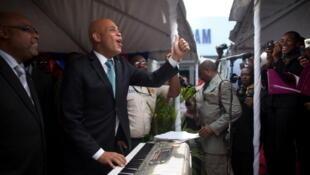 Le président haïtien Michel Martelly  à Port-au-Prince.