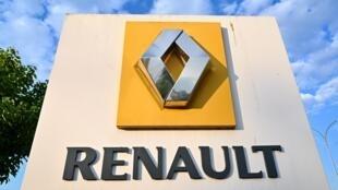 El famoso rombo del logotipo de Renault, a la entrada de la fábrica francesa de Choisy le Roi, cerca de París, el 3 de junio de 2020