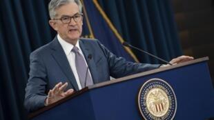 Le président de la réserve fédérale américaine Jerome Powell, lors d'une conférence de presse à Washington, le 3 mars 2020.