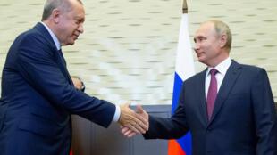 Tổng thống Nga Vladimir Putin (P) và đồng nhiệm Thổ Nhĩ Kỳ Tayyip Erdogan tại Sotchi, Nga ngày 17/09/2018.