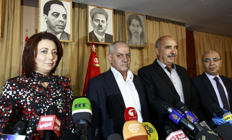 Bộ tứ vì Đối thoại dân tộc Tunisia ngày 21/10/2013 trong một cuộc họp báo.
