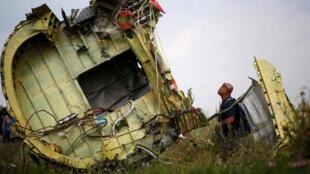 Các mảnh vỡ của chiếc máy bay MH17 rơi xuống Donetsk, Ukraina. Ảnh chụp ngày 22/07/2014.