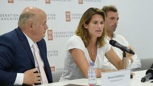 Amelie Mauresmo speaks during a press conference after she became the first woman appointed to captain France's Davis Cup team on 23 June 2018.