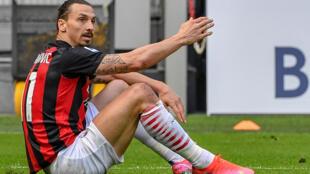 Zlatan Ibrahimovic le 3 avril 2021 au stade San Siro à Milan