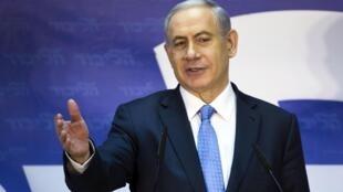 Benyamin Netanyahou, lors d'un discours àTel-aviv, le 1er janvier 2015.