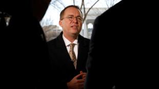 Le directeur du Budget à la Maison Blanche Mick Mulvaney lors d'une interview accordée le 19 janvier 2018 à Washington.
