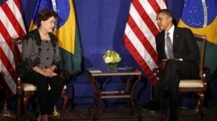 A presidente brasileira Dilma Rousseff e o o presidente dos EUA, Barack Obama