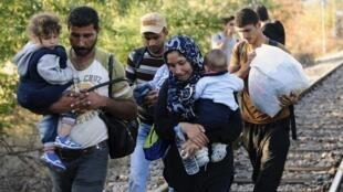 Мигранты пересекают границу Греции и Македонии, 23 августа 2015 г.