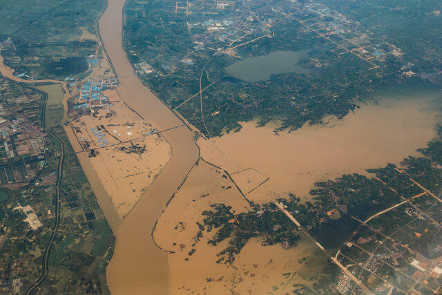 今年夏天湖北武漢周邊的孝感市地區受災嚴重