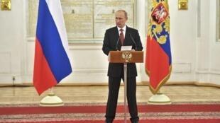 O presidente russo, Vladimir Putin, em discurso à nação.
