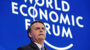 O presidente Jair Bolsonaro durante discurso no Fórum de Davos.