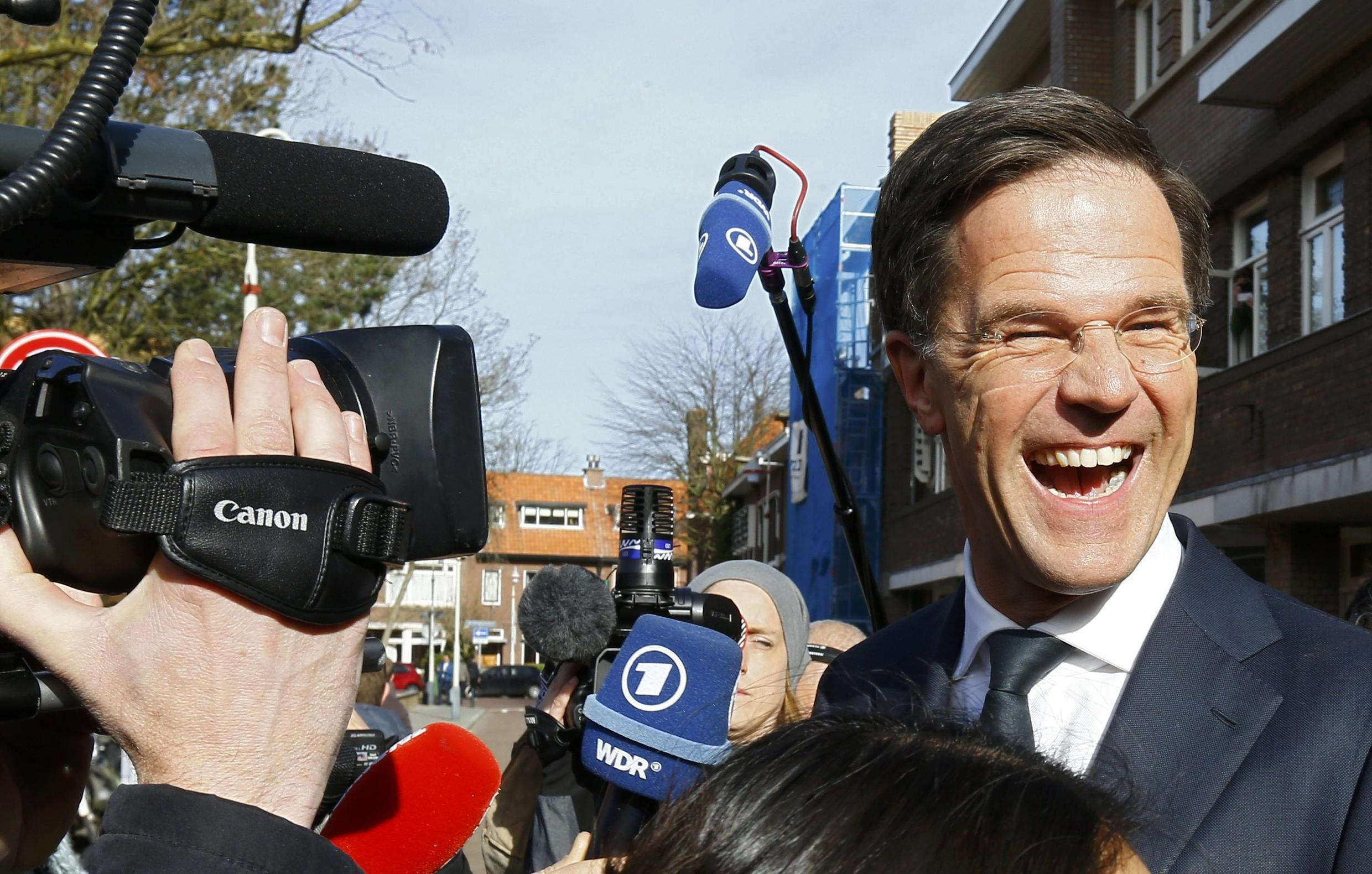 Dutch Prime Minister Mark Rutte, of the ruling Freedom and Democracy Party (VVD) on the campaign trail