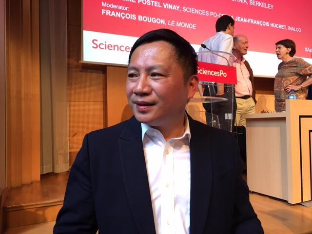 Dissident Wang Dan, who was number 1 on a government blacklist after the 1989 Beijing demonstrations on Tiananmen Square had a Zoom event commemorating the June 4, 1989 crackdown interrupted. He is pictured here visiting France in 2017.