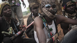 Eléments anti-balaka photographiés dans les environs de Bambari en juillet 2014.