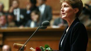 Ministra da Justiça suíça Simonetta Sommaruga, que anunciou restrições à imigração nesta quarta-feira, 24 de abril de 2013.