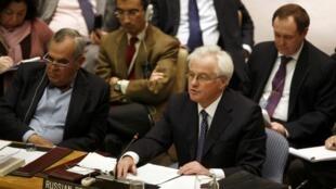 New York, le 4 février 2012. L'ambassadeur russe aux Nations unies Vitaly Churkin, et son homologue chinois, ont voté non au projet de résolution de sortie e crise en Syrie.