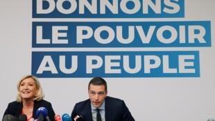 La présidente du Rassemblement national, Marine Le Pen et Jordan Bardella, le 24 mai 2019.