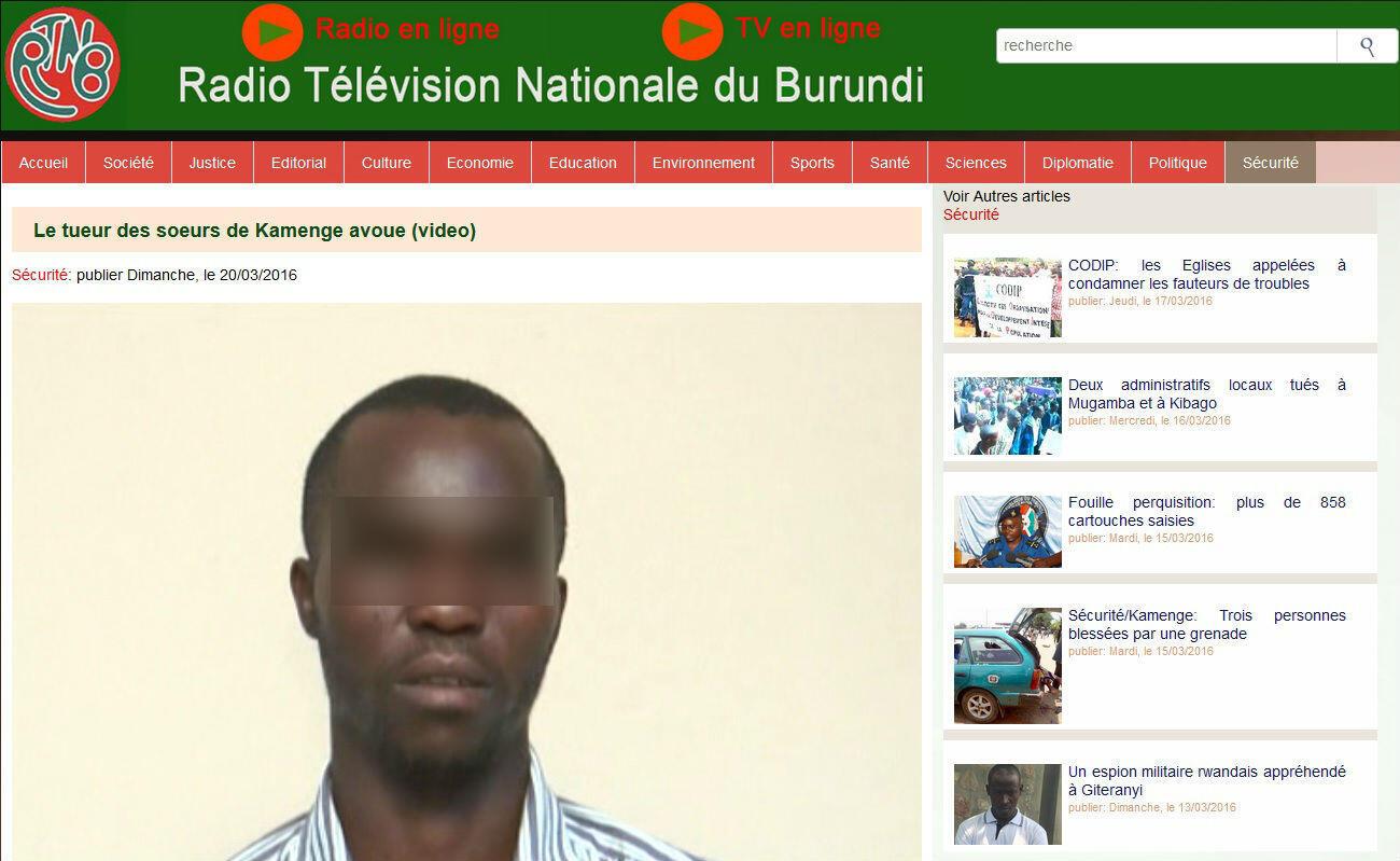 Le site de la RTNB a mis en ligne la vidéo des «aveux» du meurtre des trois soeurs dans le quartier de Kamenge en septembre 2014 (image floutée par nos soins).