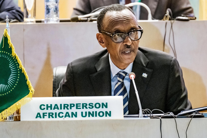 Rais wa sasa wa Umoja wa Afrika Paul Kagame wakati wa mkutano kuhusu DRC, Alhamisi Januari 17, 2019.
