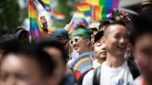 Image d'archive: La marche des fiertés à Tokyo, le 6 mai 2018.
