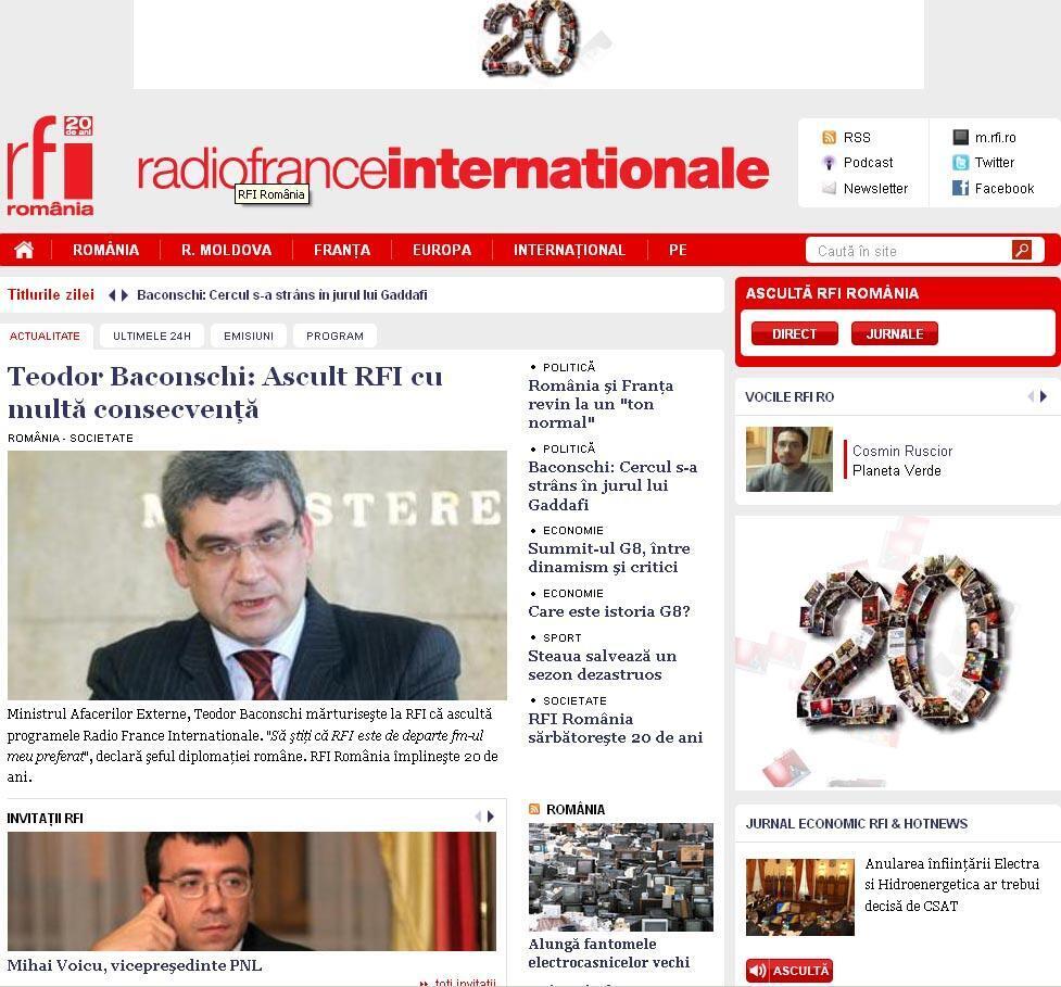 RFI Romania fête ses 20 ans et développe sa présence  sur les nouveaux supports multimédias