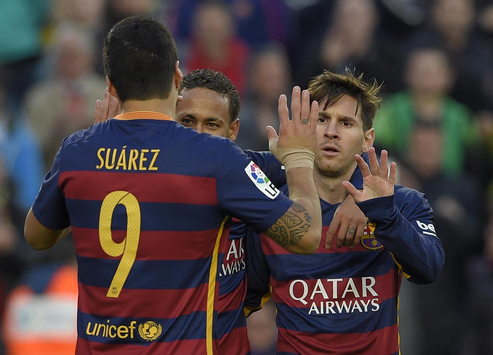O trio MSN (Messi, Suarez e Neymar) levou o Barça a liderança na Espanha.