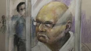 Croquis de Richard Henry Bain fait le 6 septembre 2012 dans la salle d'audience du palais de justice de Montréal.