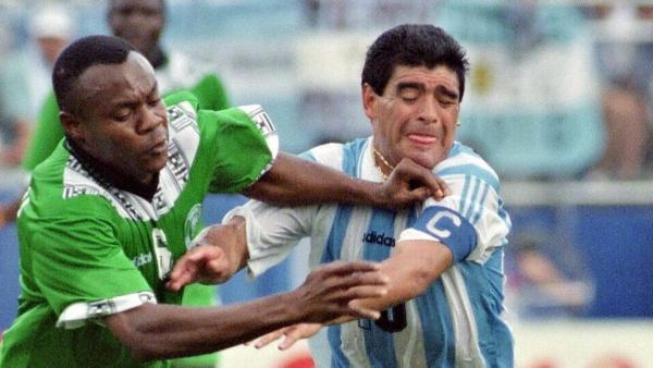 L'Argentin Diego Maradona lors de la Coupe du monde 1994, face au Nigeria.