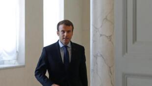 法國總統馬克龍在總統府,2017年10月12日。