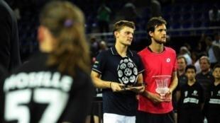 David Goffin e João Sousa na final do torneio francês de Metz.