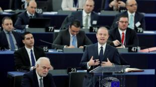 Le Premier ministre maltais Joseph Muscat devant le Parlement européen, le 18 janvier 2017.