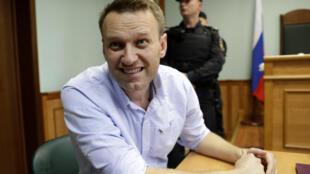 Alexei Navalny durante cerimônia pública de apelação de sua sentença, em 16 de junho de 2017.