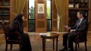 Rais wa Syria Bashar al-Assad akifanya mahojiano na kituo cha televisheni cha el-Manar