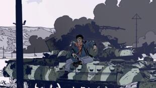 """Détail de la couverture de la bande dessinée """"Stanley Greene"""", de Jean-David Morvan et Tristan Fillaire."""