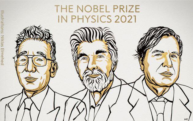 Los tres premiados: Syukuro Manabe, Klaus Hasselmann y Giorgio Parisi, ilustración de Niklas Elmehed de la academia sueca.